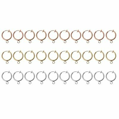 10 Pcs Brass Round Hoop Clip with Loop For Earring DIY Charms Jewelry Findings