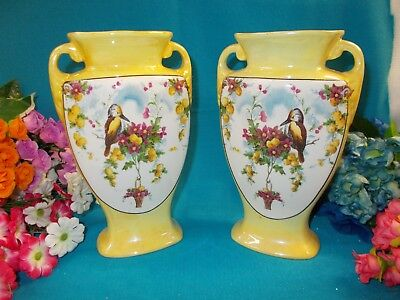 LOVELY YELLOW PAIR OF VASES - HANLEY L AND SON 20 cm H - ENGLAND - 910 gr VGC
