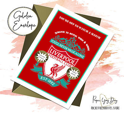Personalised Scratch & Reveal Liverpool FC Gift Card Surprise Xmas Present