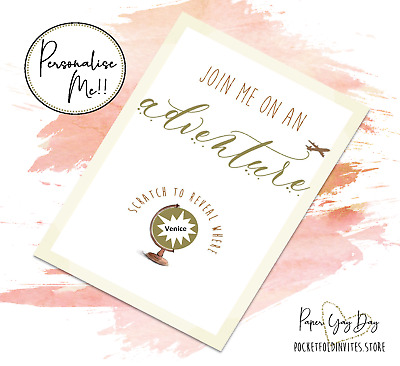Scratch & Reveal Surprise Trip Card Travel Card. Jetting Off. Holiday Card Gift