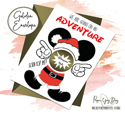 Scratch & Reveal a Surprise Trip Card. Travel Card. Disneyland Holiday Card.