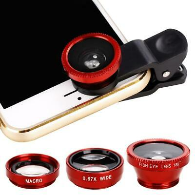 For Smart Cell Phone 3in1 Fish Eye+ Wide Angle+ Macro Camera Clip-on Lens