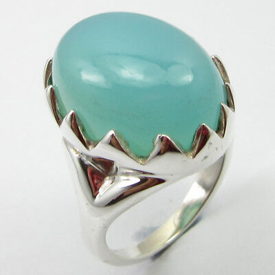 925 Solid Silver Real Aqua Chalcedony Ring Sz 6.75 Fashion Wholesale Jewelry