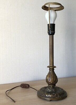 Alte Tischlampe Table Lamp Säule Lampenfuss Messing Empire Jugendstil