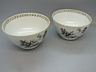 Outstanding Pair of Late 18th C Staffordshire Bat Printed Tea Bowls circa 1795