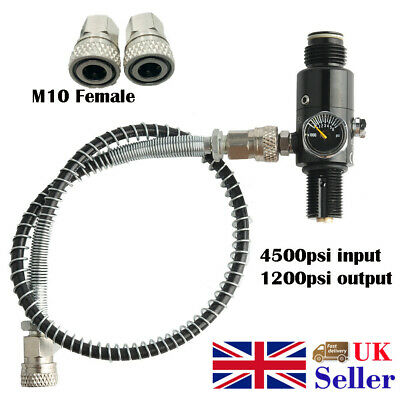 30mpa Air Tank Valve 1200psi Output Hose 50cm M10 Female Fitting For Paintball