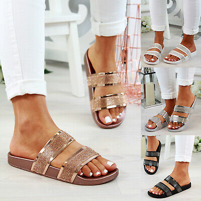 Ladies Womans Strappy Slip On Sliders Mule Summer Flatform Sandals Shoes Sizes