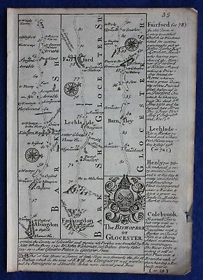 Original antique road map BERKSHIRE, GLOUCESTERSHIRE, ABINGDON, E. Bowen,c.1724