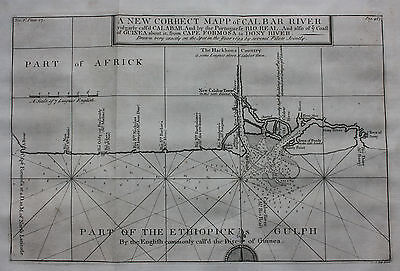 Original antique map, WEST AFRICA, NIGERIA, CALABAR RIVER, J. Kip, 1744
