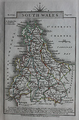Original antique map SOUTH WALES, CARDIGAN BAY, BRISTOL CHANNEL, John Cary, 1819