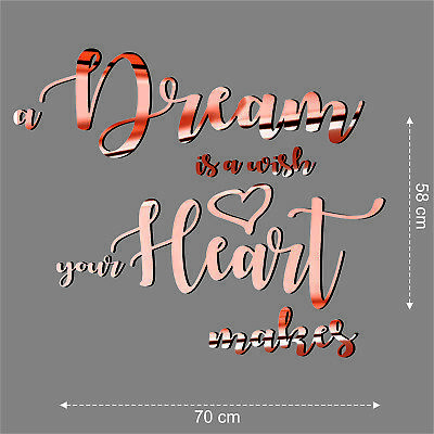 Custom Quote Rose Gold a Dream is a wish your Hart makes Chrome Wall Stickers