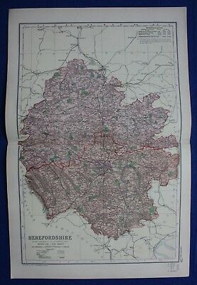 Original antique map HEREFORD, LEDBURY, LEOMINSTER, RAILWAYS, G.W. Bacon, 1896