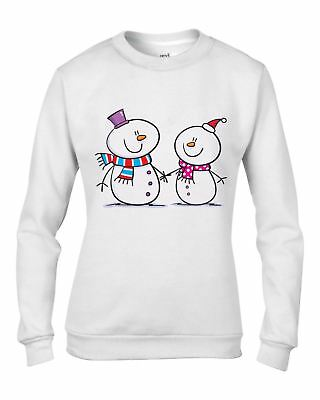 Snowman and Snow Woman Christmas Women's Sweatshirt - Gift Present Xmas Jumper
