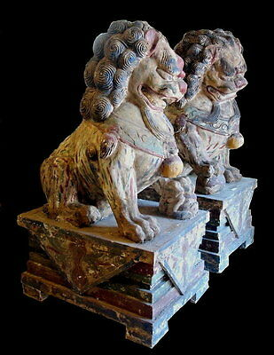 """Foo Lion's Qing Dynasty Period Large 48"""" Tall Pair Yin And Yang 19 C."""