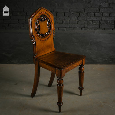 19th C Carved Oak Chair with Turned Legs