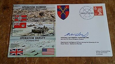 Signed GEN. SIR ROBERT FORD GCB CBE - WW2 cover JS50/45/6 - OPERATION PLUNDER.