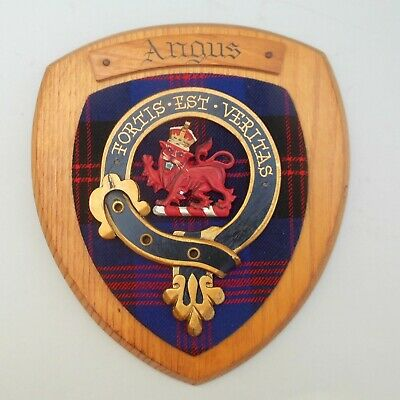 Vintage Oak Wall Plaque ~ Scottish Clan ANGUS ~ Tartan Shield Crest / Badge Arms