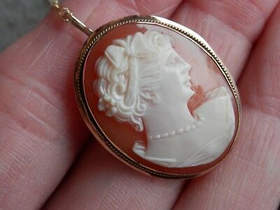 "BEAUTIFUL 18K Solid Yellow Gold Cameo Brooch Pendant Necklace 18"" Chain"