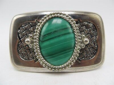 Vintage Silver Metal and Malachite Belt Buckle 3.5""