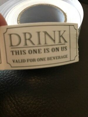 """Drink Voucher """" This One Is On Us"""" 100 Drink Vouchers Great For Guests Events"""