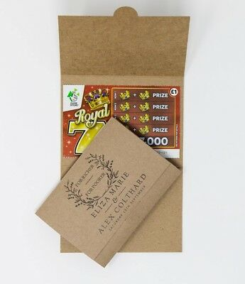 10 personalised lottery ticket scratchcard holder wedding favour card envelope