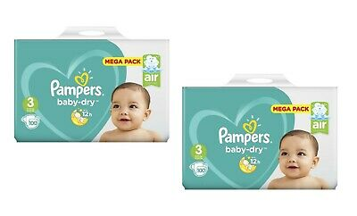 200 Couches Pampers baby-dry Taille 3 de 6 à 10 kg 2 x Mega Pack 100 couches