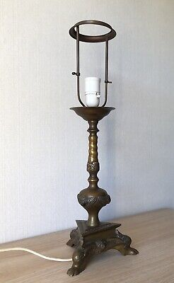 Tischlampe Leuchte Table Lamp Messing Löwenfüsse Engel Putten Barock