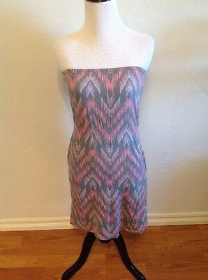 4be8c4ea656d BILLABONG Pink & Gray Tribal Strapless Dress With Pockets! Size XS Small S