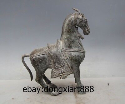 """9"""" Chinese Ancient Bronze Lucky War Horse Equine Wealth Fengshui Animal Statue"""