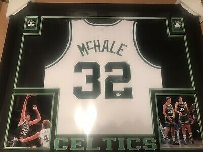 ee32d62dec2 FRAMED Autographed/Signed KEVIN MCHALE 35x43 Boston White Jersey JSA COA