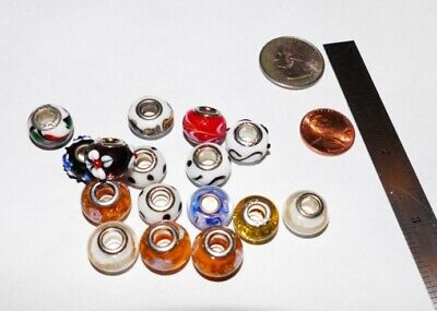 """""""BEST ACCENT GLASS BEADS"""" Big Mix Lampwork, Sterling Silver Cores. 8 per pkg."""