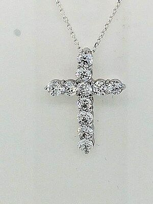 "SILVER CROSS WITH CZ's 18"" SILVER CHAIN ABSOLUTELY BEAUTIFUL!!  ON SALE!!"