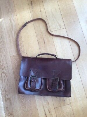 Vintage Aepma Brown Leather Briefcase With Carrry Strap (c4) Large