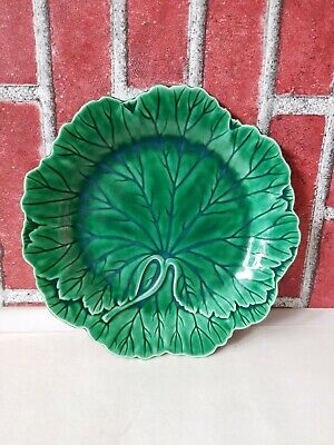 "WEDGWOOD Majolica Green Leaf Plate 8"" #6 Etruria Barlaston Excellent Condition"