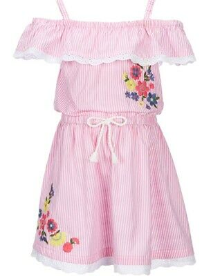 Flapdoodles Little Girl's Pink Striped Floral-Embroidered Eyelet Dress-Size-6X