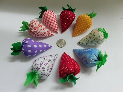 Lot of 9 Handmade Mixed pattern BOWL FILLERS STRAWBERRY STRAWBERRIES  2""