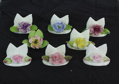 Set Of 8 Place Card Holders 7 Coalport 1 Royal Adderley Colorful Flowers England