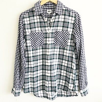 bea3241d UNIQLO WOMENS BUTTON Down Flannel Shirt Sz Small Blue White Plaid ...