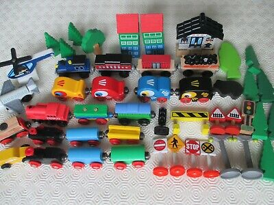 Wooden Train Set Accessories Trains Signs Trees Buildings Includes Brio Bundle