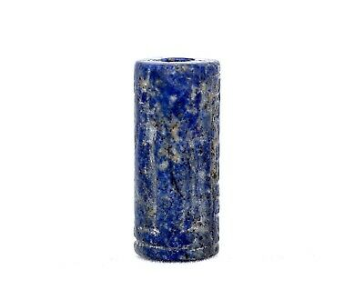 A Very Fine West Asian Lapis Cylinder Seal, Early 2nd Millennium BCE.