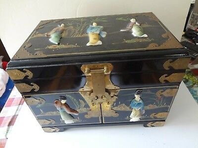 Black Lacquered Chinese Jewelry Box With Mother Of  Pearl Owerlay
