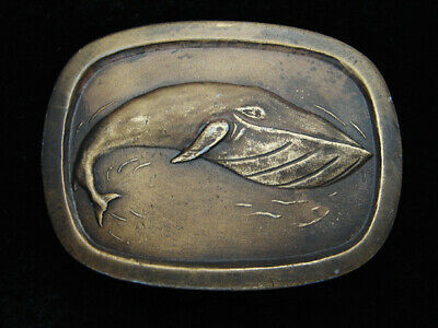 Qi11126 Vintage 1977 **Blue Whale** Commemorative Brasstone Belt Buckle