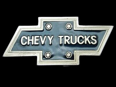 QD09148 *NOS* VINTAGE 1980s **CHEVY TRUCKS** COMPANY PEWTER BELT BUCKLE