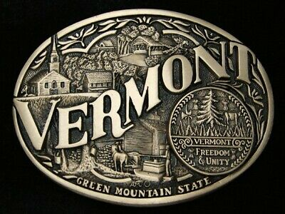 RB15142 *NOS* VINTAGE 1980s **VERMONT** STATE COMMEMORATIVE SOLID BRASS BUCKLE