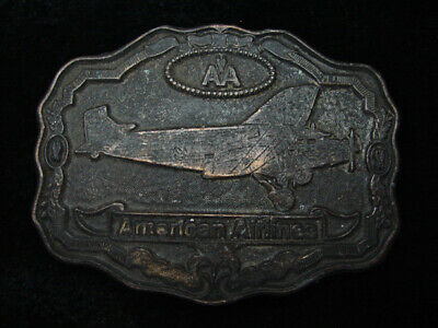 RB15144 VINTAGE 1970s **AMERICAN AIRLINES** AVIATION COMPANY BRASSTONE BUCKLE