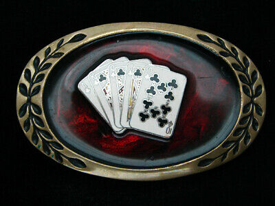 QL09101 VINTAGE 1970s *ROYAL FLUSH* POKER HAND GAMBLING SOLID BRASS BELT BUCKLE