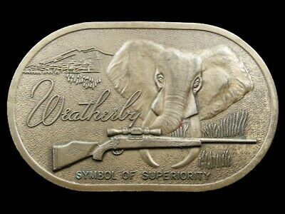 RJ07169 AMAZING 1970s VINTAGE ***WEATHERBY*** BIG GAME RIFLE SOLID BRASS BUCKLE