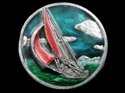 Rj07102 Vintage 1977 **Sailboat** Commemorative Pewter Bergamot Belt Buckle