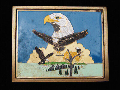 Qi11114 Vintage 1983 **American Bald Eagle** Solid Brass Belt Buckle
