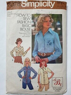 """Ladies Vintage Basic Blouse Pattern with Monogram Embroidery Transfer Bust 31.5"""""""
